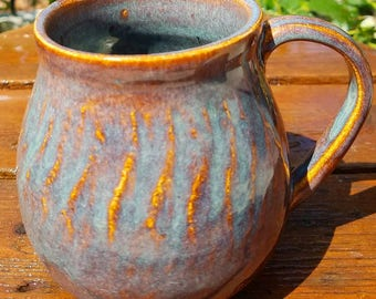 Pottery, pottery mug, rustic textured mug, handmade pottery mug