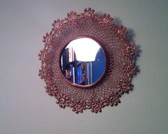 "Mirror ""Sun"" copper lace / crochet flower doily"