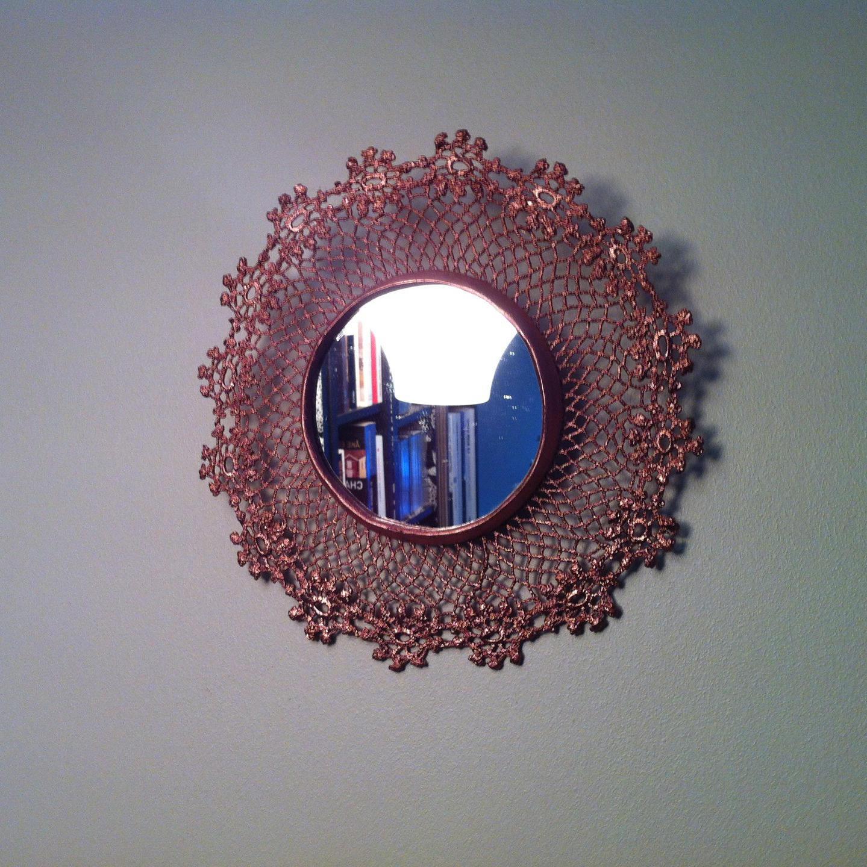 Miroir soleil cuivre dentelle napperon fleur en for Miroir soleil cuivre