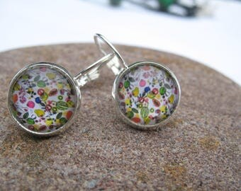 "Earrings cabochon ""fabrics"" theme"