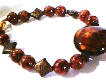 caramel, lampwork and fancy glass beaded bracelet