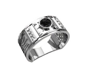 Ukrainian Trident Tryzub Symbol Black Zircon Ring Sterling Silver 925 SKU30149