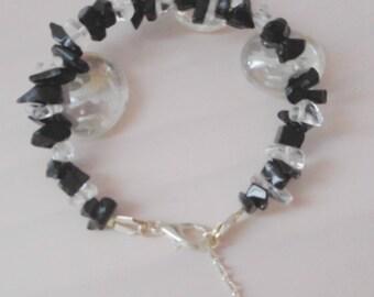 Black Onyx and rock Crystal Chips bracelet