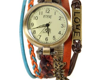 Watch jewelry Brown and blue Berlin with charm