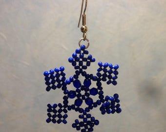 Blue Snowflake shape earrings