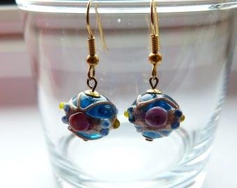Venetian glass dangle earrings,Dark blue Venetian glass dangle earrings, Murano Glass earrings, Handmade earrings, gold earrings