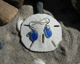 Blue Sea Glass Drop Earrings Set