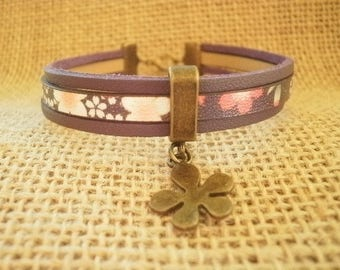 Leather Bracelet, violet and floral, flower charm, size 20 cm