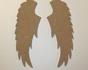 Pair of Angel Wings wood mdf holder to decorate 12cm high