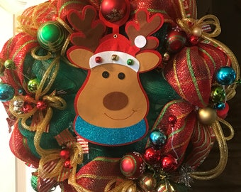 Reindeer Wreath, Christmas Wreath, Reindeer Christmas Wreath