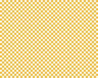 Yellow Checkered Fabric - Riley Blake Cotton Fabric. Quarter Yard, Half Yard, By the Yard