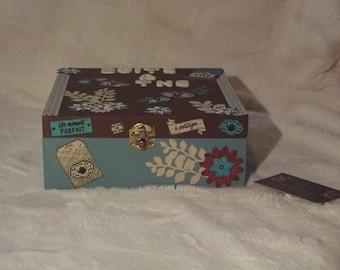 Flowers and butterflies scrapbooking tea box