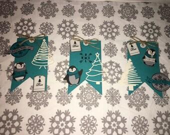 Winter penguins gift tag banner