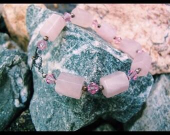 rose quartz & swarovski bracelet with toggle clasp