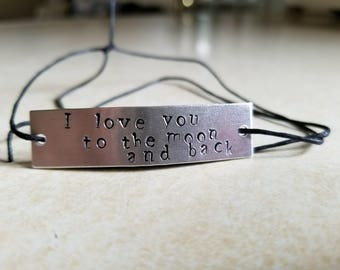 "Personalized Adjustable Bracelet - ""I love you to the moon and back"" - Hand Made"
