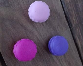 Set of three polymer clay macaroon