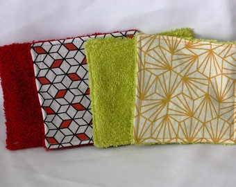 Set of 8 wipes 10cm of yellow and Red
