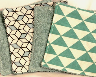 Set of 4 wipes 10cm in color blue and green
