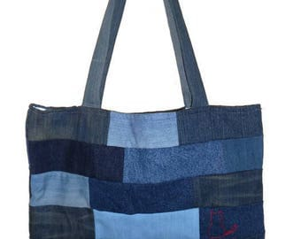 beach bag or shopping denim patchwork