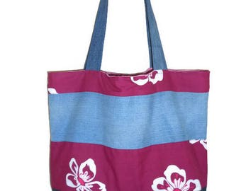 Raspberry Beach, shopping bag, denim and fabric bag