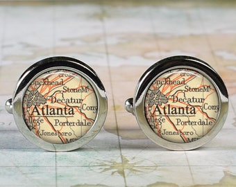 Atlanta cuff links, Atlanta map cufflinks wedding gift anniversary gift for groom groomsmen gift for best man Father's Day gift