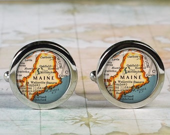 Maine cuff links, Maine map cufflinks wedding gift anniversary gift for groom gift for him groomsmen best man Father's Day gift