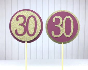 "30th Birthday Cupcake Toppers - Glitter Gold & Maroon ""30"" - Set of 12 - Elegant Cake Cupcake Age Topper Picks Party Decorations"