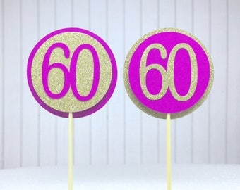 """60th Birthday Cupcake Toppers - Gold Glitter & Hot Pink """"60"""" - Set of 12 - Elegant Cake Cupcake Age Topper Picks Party Decorations"""