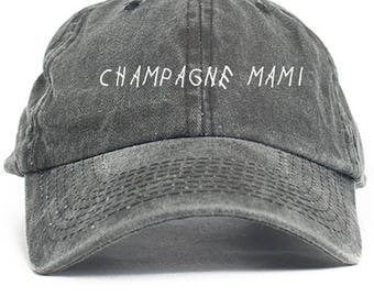Champagne Mami  Dad Hat Adjustable Baseball Cap New - Black Denim
