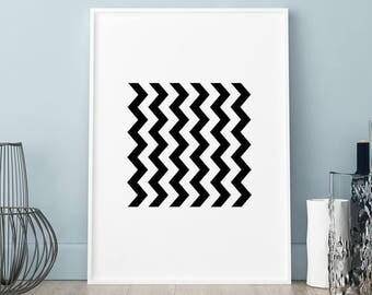 Geometric Zig zag poster, Geometric Zig zag print, Wall art, Art Print, Scandinavian print, Scandinavian poster