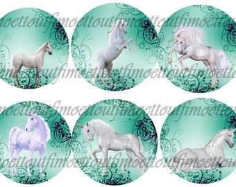 36Image digital cabochon unicorns blue background (send email)