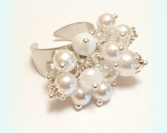 """Ring charms pearls """"Crystal snow purity"""""""