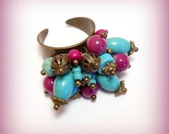 """Ring charms pearls """"Oriental purple and turquoise"""""""