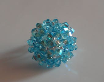 HAND made oval ring in aquamarine blue Swarovski Crystal beads