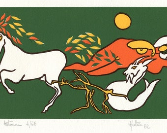 Fall. Linocut 4 colors on white Canson paper
