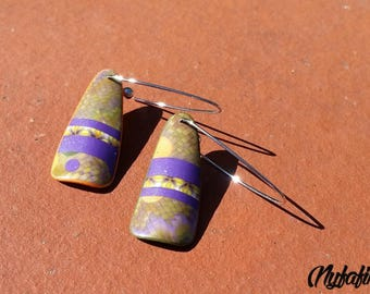 Patchwork and bargello, butterfly back earrings