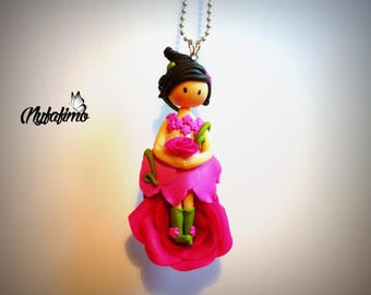 """For the April 2015 challenge: """"The birth of a flower fairy"""", doll necklace"""