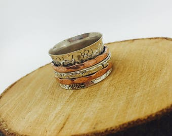 Silver Spinner Ring - Meditation Copper Ring - Anxiety/Fidget Rings - Stress Relief Rings - Thumb Ring