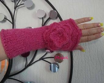 Mittens knit, crochet flower fuchsia