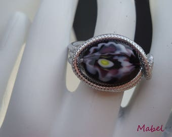 Glass ring, purple and green, embossed aluminum silver wire, adjustable,