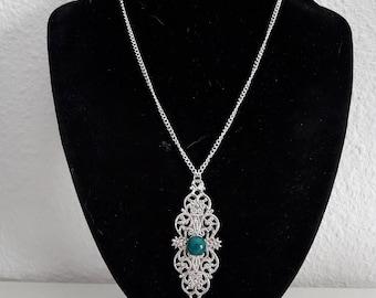 Silver Pendant Necklace diamond filigree
