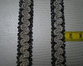 shiny light gray stripe and grey Silver metallic thread