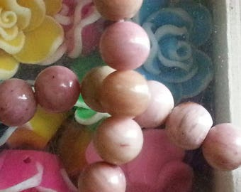 20 6 mm rhodonite beads, hole 1 mm