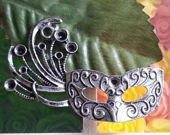 mask silver rhinestone jewelry with Tibetan style, lead and nickel free, 36 x 53 x 4 mm. fit for 2 ~ 4