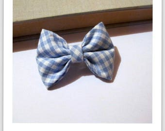 "hair bow ""clip - me"" blue and white gingham"