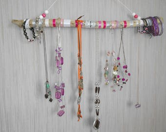great holder or organizer driftwood, ribbons, laces, beads