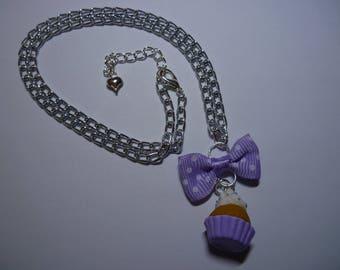 Purple clay cupcake necklace
