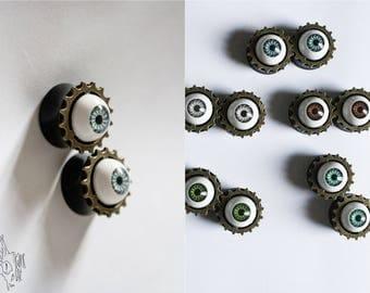 Black plugs acrylic eye on cog, 20mm