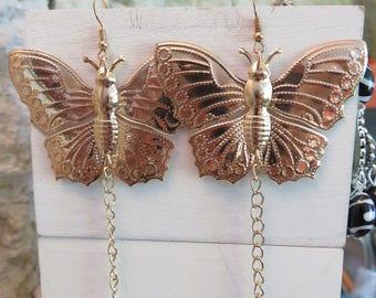 Gold Earrings Butterfly XXL