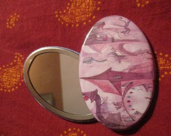 Illustrated oval mirror - imaginary world city - town pink and Fuchsia and violet